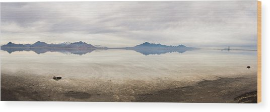 Reflection At Bonneville Salt Flats Wood Print by Mark Spomer