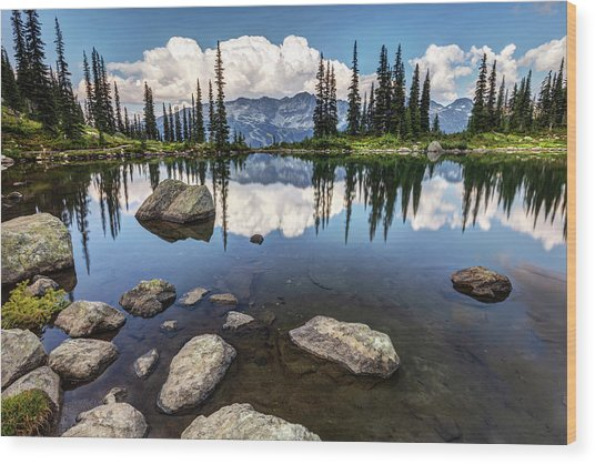 Wood Print featuring the photograph Reflection At Harmony Lake On Whistler Mountain by Pierre Leclerc Photography