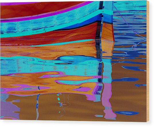 Reflection Boats Malta Wood Print by Barry Culling