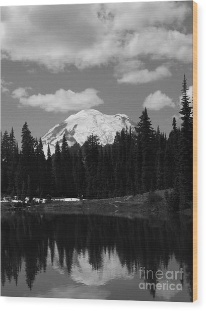 Mt. Rainier Reflection In Black And White Wood Print
