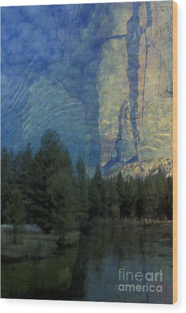Reflection In The Merced River Wood Print by Stan and Anne Foster