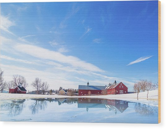 Reflection Of A Barn In Winter Wood Print