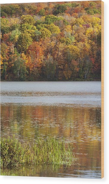 Reflection Of Autumn Colors In A Lake Wood Print