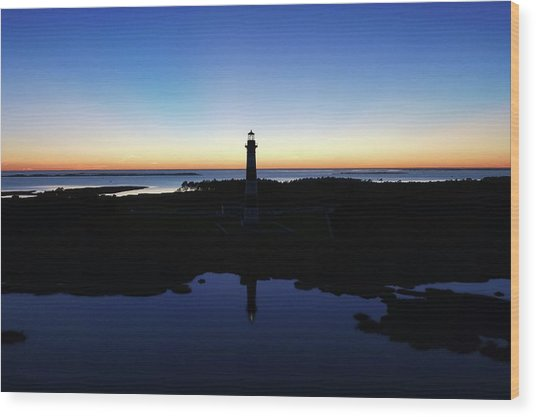 Reflection Of Bodie Light At Sunset Wood Print