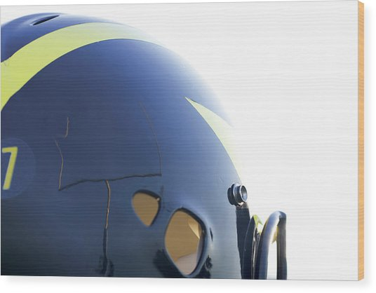 Reflection Of Goal Post In Wolverine Helmet Wood Print