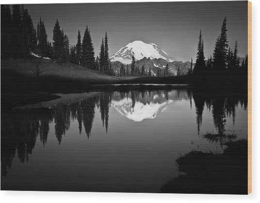 Reflection Of Mount Rainer In Calm Lake Wood Print