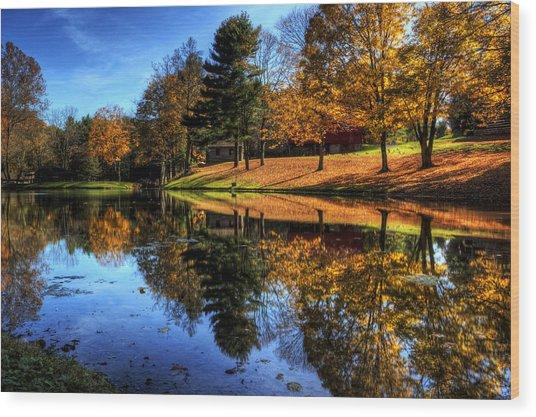 Reflection Of Northeast Ohio Fall Wood Print