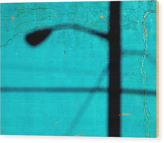 Reflection On A Blue Wall Wood Print by JoAnn Lense