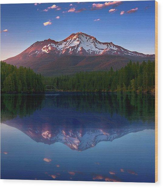 Reflection On California's Lake Siskiyou Wood Print