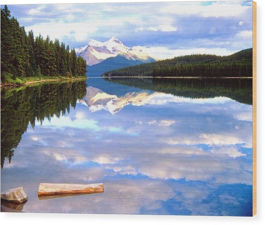 Reflection On Malign Lake Wood Print