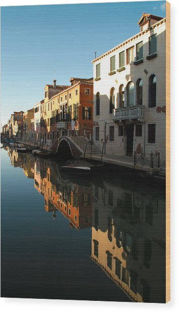 Reflection On The Cannaregio Canal In Venice Wood Print by Michael Henderson