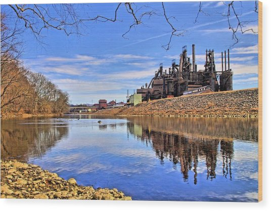 Reflection On The Lehigh - Bethlehem Pa Wood Print