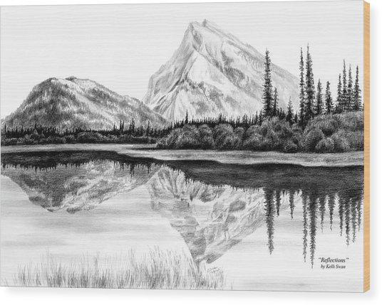 Reflections - Mountain Landscape Print Wood Print