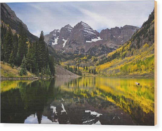 Reflections And Aspen Trees Wood Print