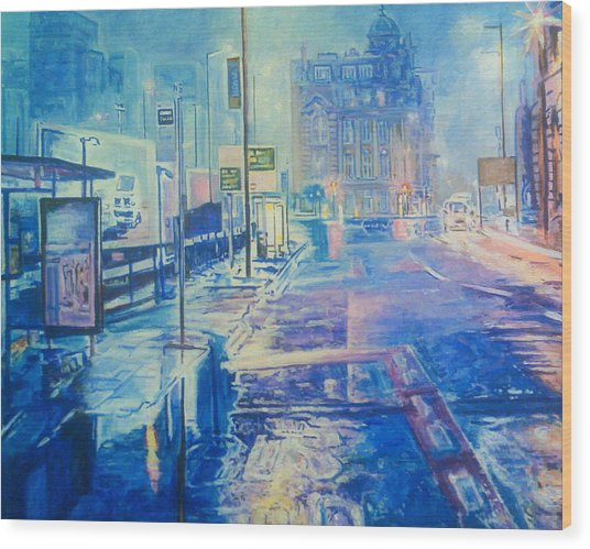 Reflections At Night In Manchester Wood Print