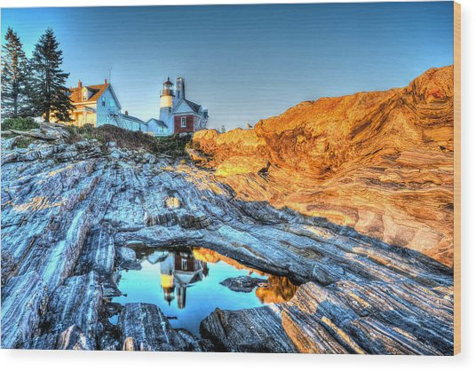 Reflections At Pemaquid Point Wood Print