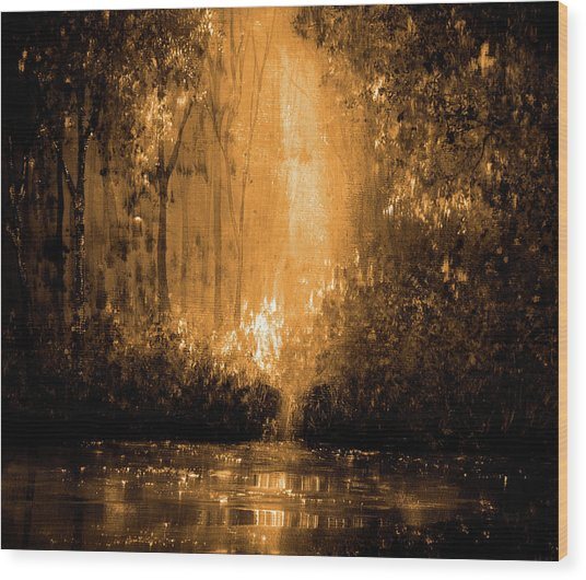 Reflections In Flame Wood Print by Ann Marie Bone