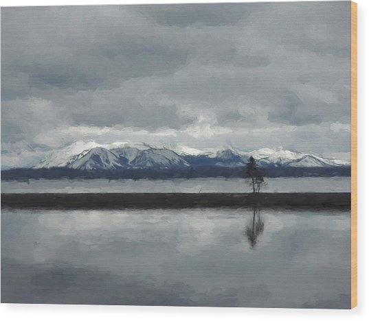 Reflections In Lake Yellowstone Wood Print