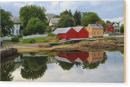 Reflections In Rorvik Wood Print