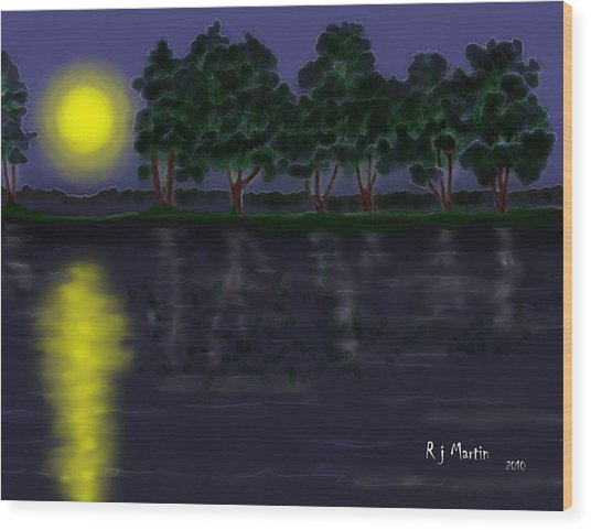Reflections In The Moonlight Wood Print