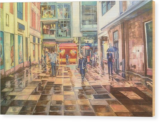 Reflections In The Pavement, Brown Street, Manchester Wood Print