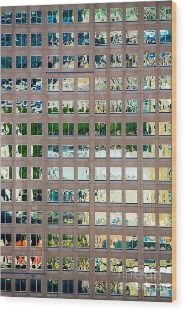 Reflections In Windows Of Office Building Wood Print