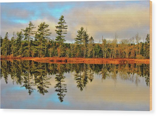 Reflections - Lake Landscape Wood Print