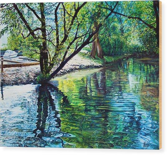 Trees Reflections Wood Print