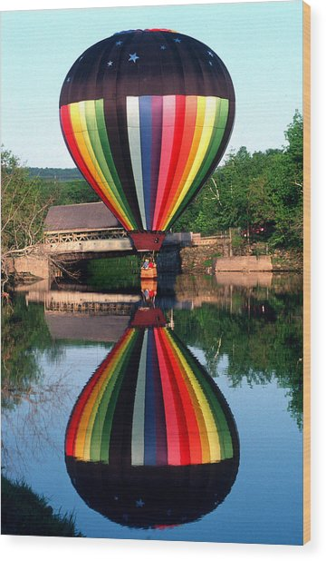 Reflections Of A Balloonist Wood Print by Jim DeLillo