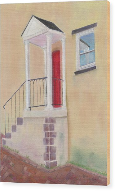 Red Door - Baltimore Wood Print