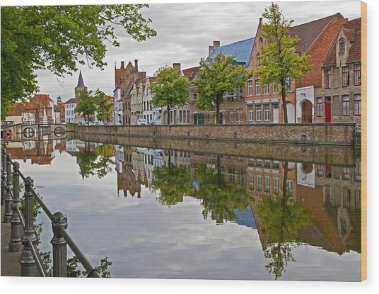Reflections Of Brugge Wood Print