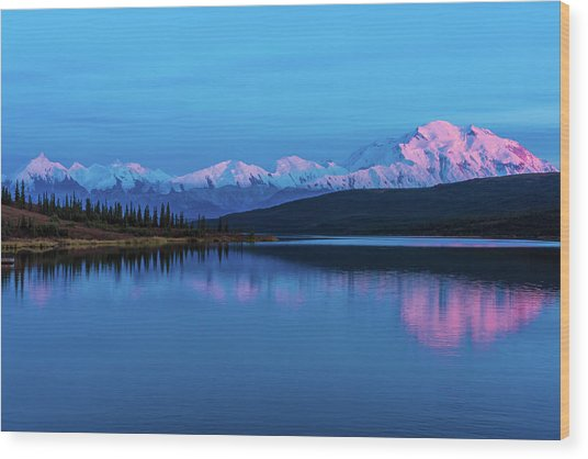 Sunset Reflections Of Denali In Wonder Lake Wood Print