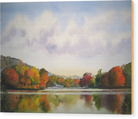 Reflections Of Fall Wood Print by Shirley Braithwaite Hunt