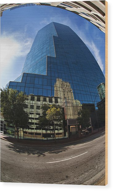 Reflections Of Fort Worth Wood Print
