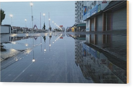 Reflections Of The Boardwalk Wood Print