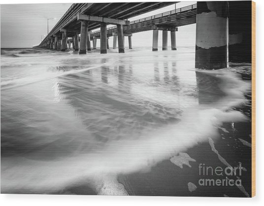 Reflections Of The Chesapeake Bay Bridge Tunnel Wood Print by Lisa McStamp