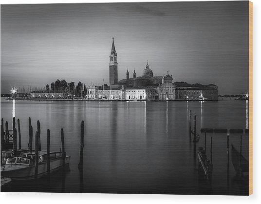 Reflections Of Venice Wood Print by Andrew Soundarajan