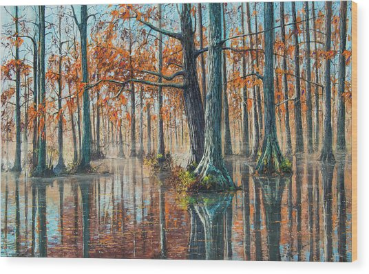 Reflections On Autumn Wood Print