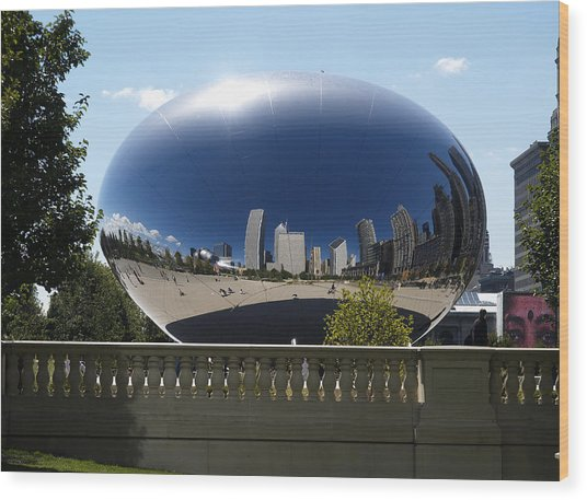 Reflections On Chicago Wood Print