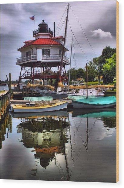 Reflections On Golden Creek Wood Print
