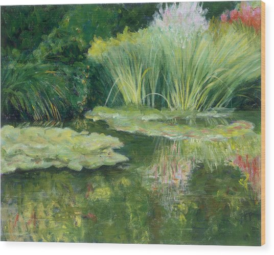 Reflections On Monets Lily Pond Wood Print