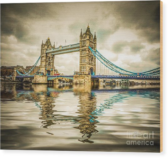 Reflections On Tower Bridge Wood Print
