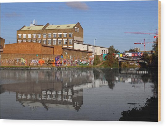 Reflective Canal Wood Print by Jez C Self