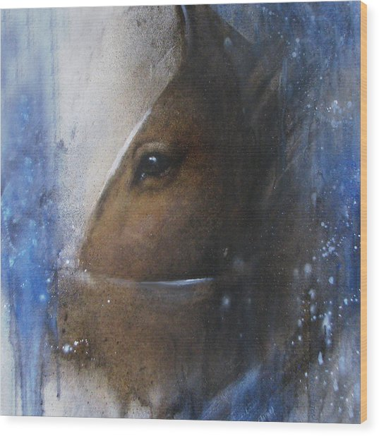 Reflective Horse Wood Print