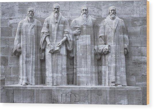 Reformers Wall, Geneva, Switzerland, Hdr Wood Print