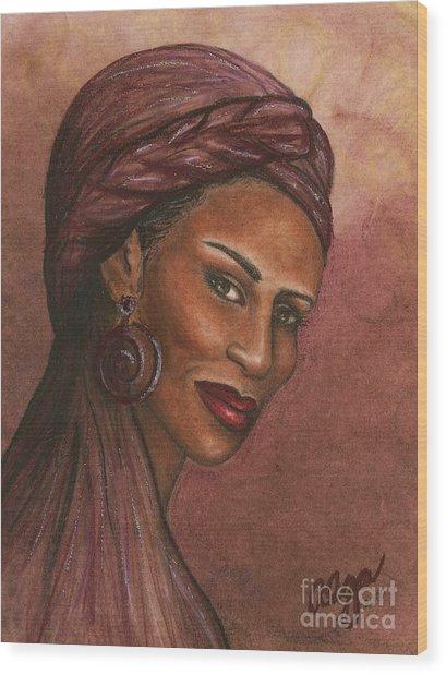 Regal Lady In Plum Wood Print