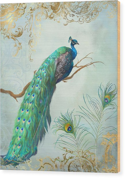 Regal Peacock 1 On Tree Branch W Feathers Gold Leaf Wood Print
