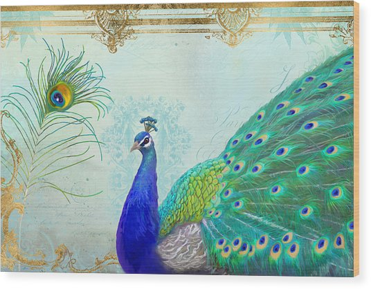 Regal Peacock 2 W Feather N Gold Leaf French Style Wood Print