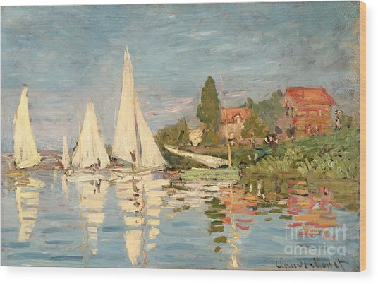 Regatta At Argenteuil Wood Print