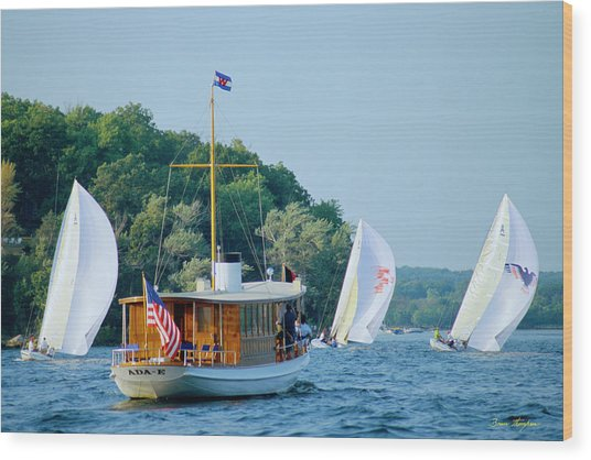 Regatta Watcher - Lake Geneva Wisconsin Wood Print